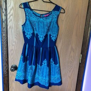 Blue patterned A-line dress
